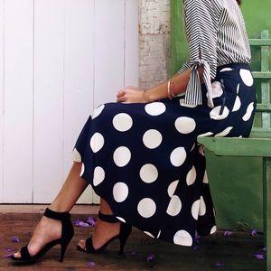 Anthro HD in Paris Deco Dot Midi Skirt Black White
